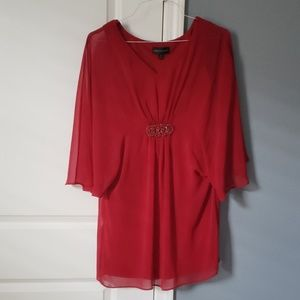 Red connected dress